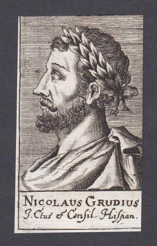 17. Jh. - Nicolaus Grudius / poet Dichter Humanist Louvain Portrait Kupferstich