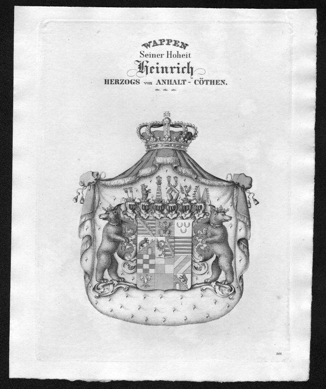 1820 - Anhalt-Köthen Wappen Adel coat of arms heraldry Heraldik Kupferstich