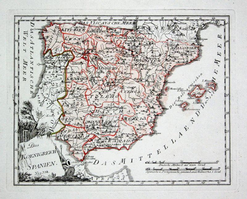 Spanien Spain Portugal Madrid Granada map Karte Reilly engraving Kupferstich