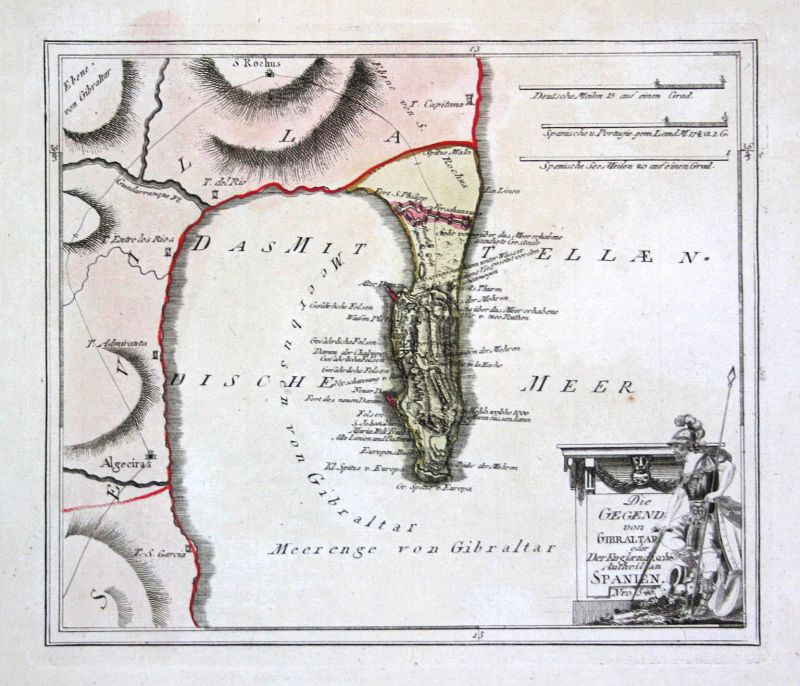 Spanien Spain Portugal Gibraltar Algeciras map Reilly engraving Kupferstich