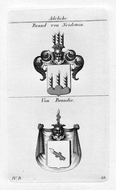 Brand Brandis - Wappen Adel coat of arms heraldry Heraldik Kupferstich