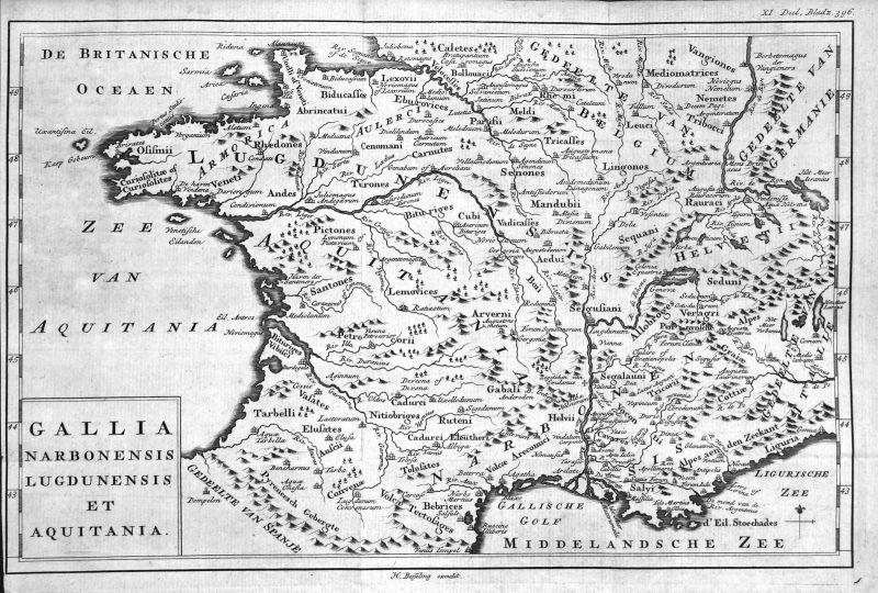 18. Jh. Aquitaine Narbonne France gravure carte map Kupferstich antique p 157778