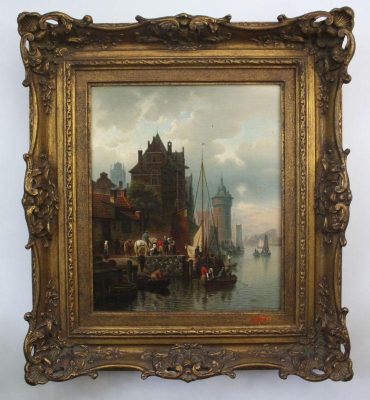 Hermann Meyerheim / Berlin - Gemälde Öl Leinwand Rotterdam Hafen painting
