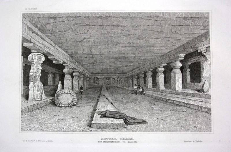 Ca. 1840 Detter Warra Indien India Höhle cave Stahlstich engraving