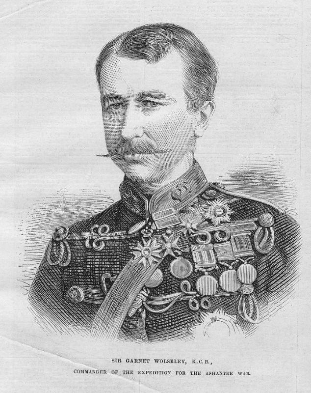1873 Sir Garnet Wolseley commander expedition Dublin Portrait antique print