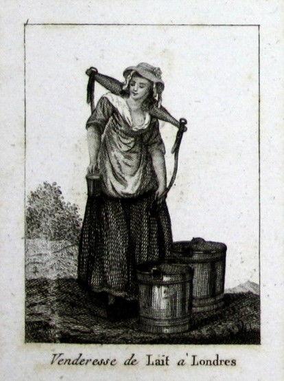 18. Jh. London milk maid England costume Tracht UK Kupferstich engraving