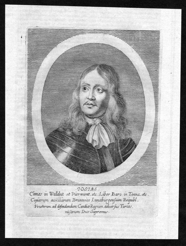 17. Jh. Josias I Waldeck Pyrmont Portrait Kupferstich antique print