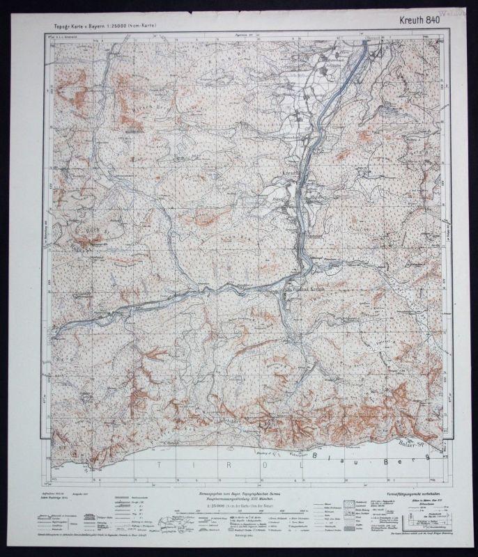 1944 Kreuth Wildbad Riedlern Scharling Brunnbiehl 1:25000 Karte Meßtischblatt