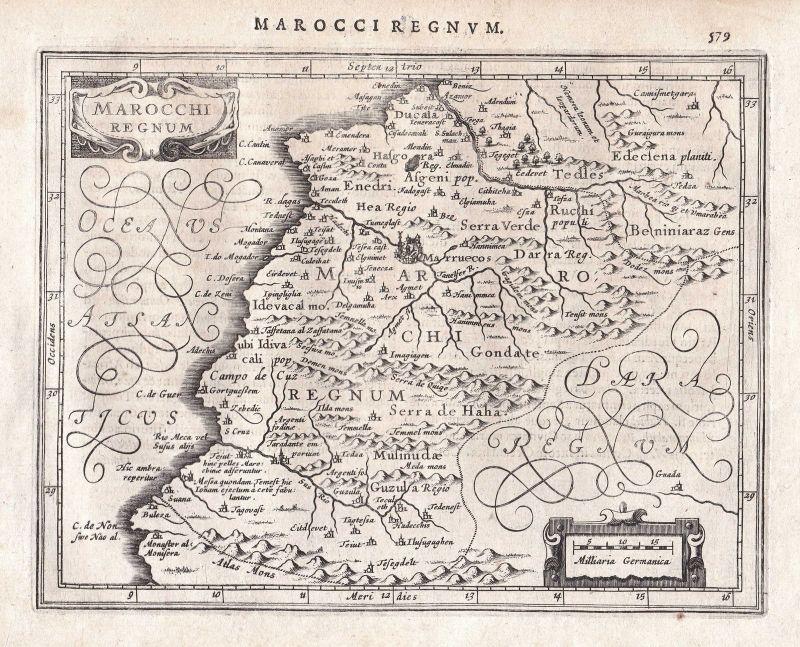 Marokko Morocco Marrakesch Marrakesh Afrika Africa map Karte Gerard Mercator