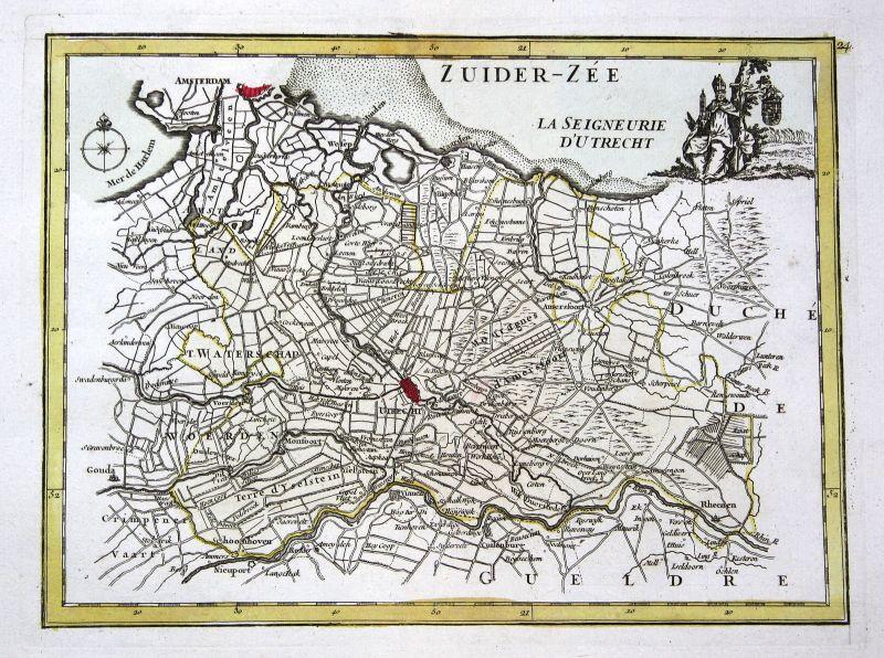 1767 Utrecht Amsterdam Nederland map Karte Kupferstich antique print Le Rouge