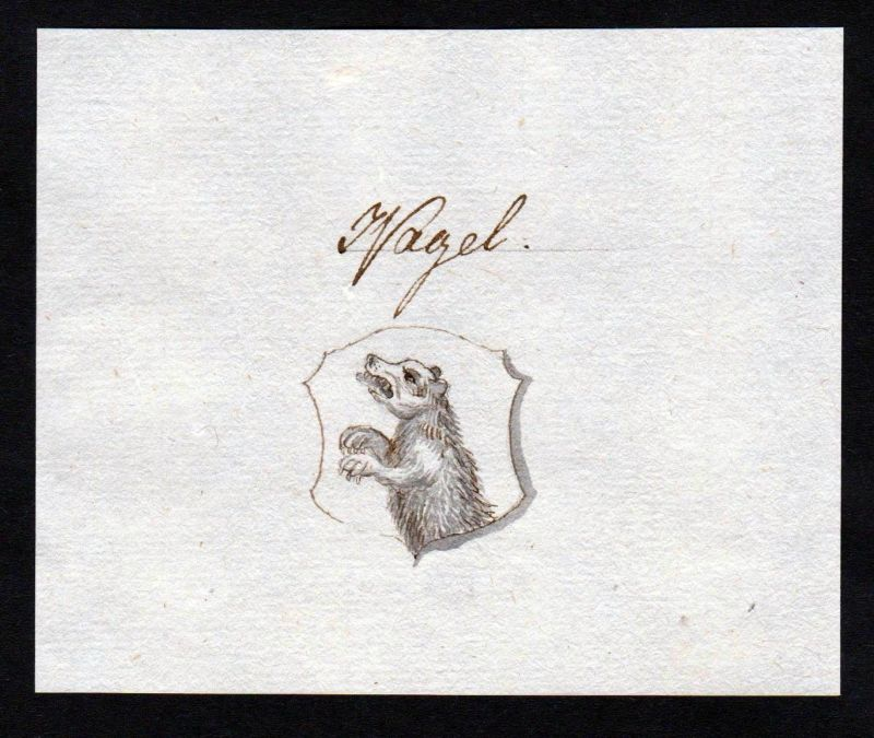 18. Jh. Nagel Adel Handschrift Manuskript Wappen manuscript coat of arms