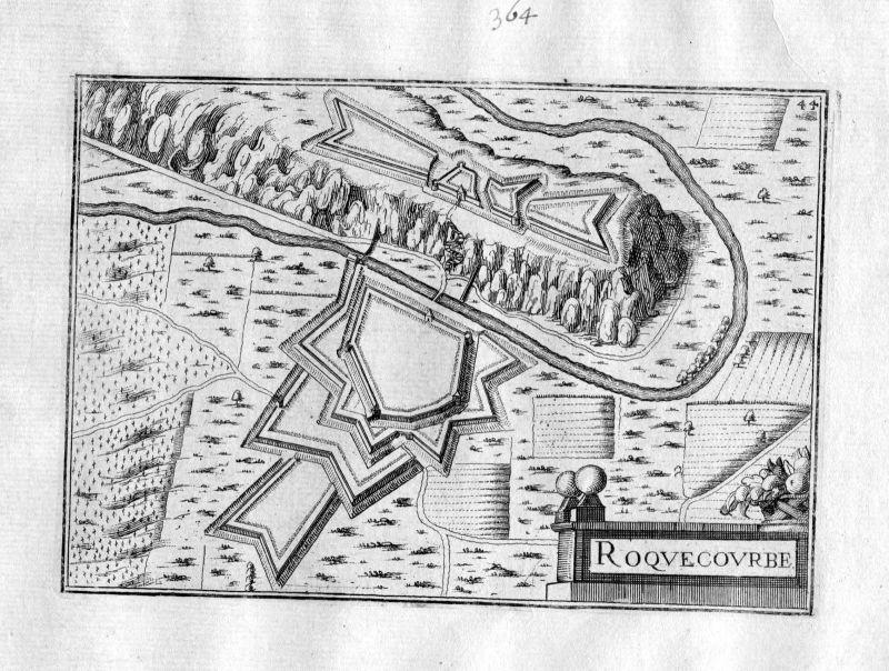 1630 Roquecourbe Tarn Frankreich Kupferstich Karte map engraving gravure Tassin
