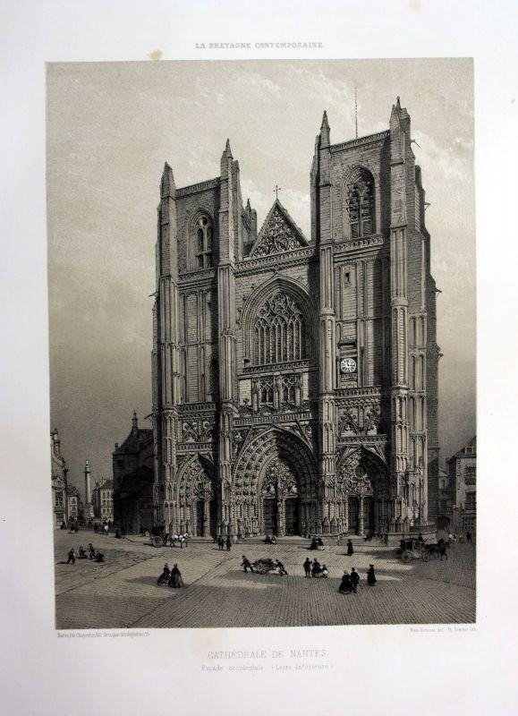 Ca. 1870 Cathedrale Nantes Bretagne France estampe Lithographie lithograph