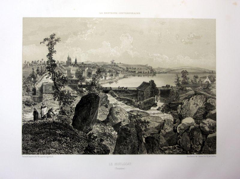 Ca. 1870 Huelgoat vue generale Bretagne France estampe Lithographie lithograph