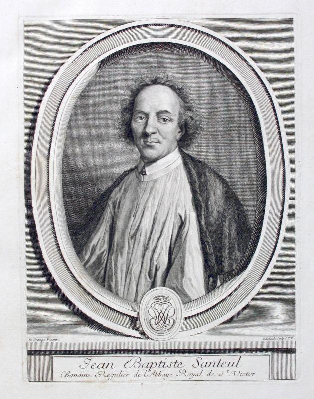 Jean de Santeul poete Poet Dichter gravure Portrait gravure ca. 1700