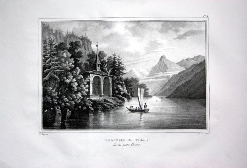 1825 Tellskapelle Wilhelm Tell Vierwaldstätter See - Schweiz Suisse Lithographie