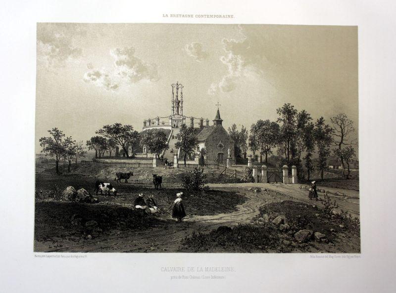 Ca. 1870 Pontchateau Le Calvaire Bretagne France estampe Lithographie lithograph