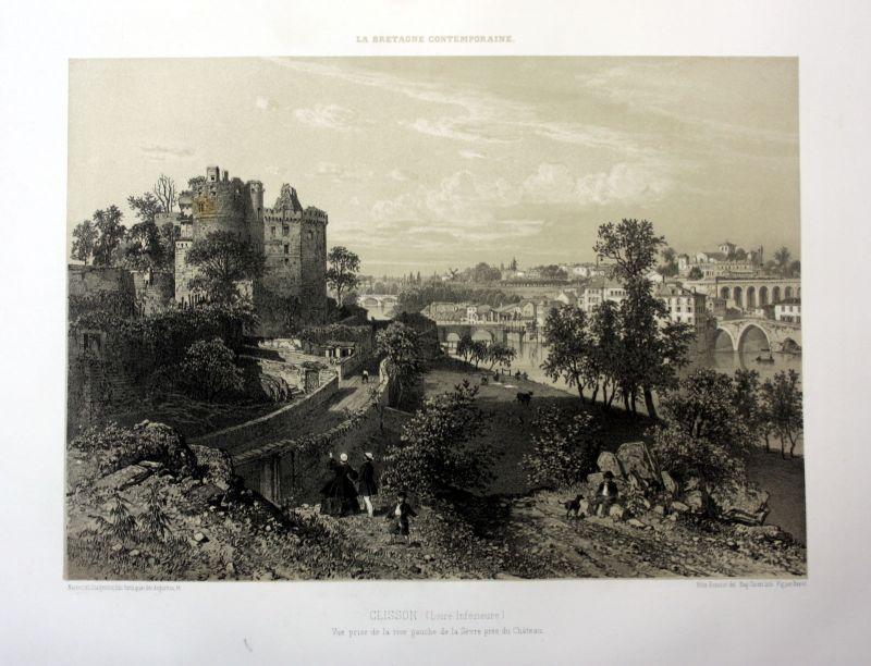 Ca. 1870 Clisson Chateau Sevre Nantaise vue Bretagne France estampe Lithographie