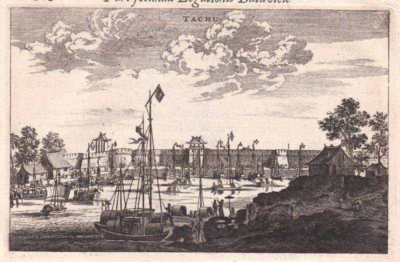 1668 Tachu China Hafen harbour Ansicht view Kupferstich antique print Nieuhof