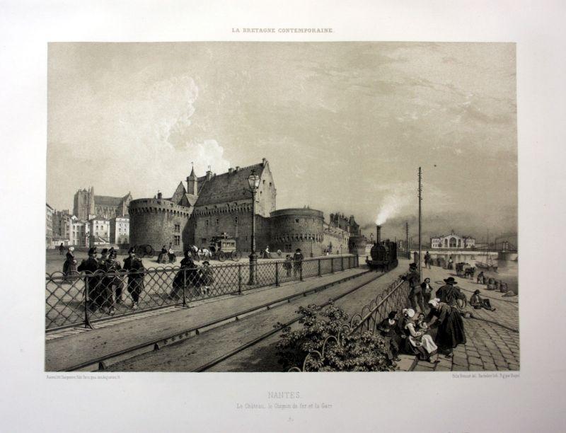 Ca. 1870 Nantes Chateau chemin de fer Bretagne France estampe Lithographie