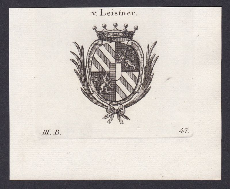 1820 Leistner Wappen Adel coat of arms Heraldik Kupferstich antique print