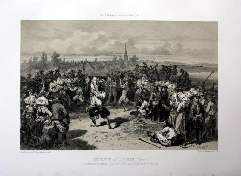 Ca. 1870 Rosporden lutte Kampf Bretagne France estampe Lithographie lithograph