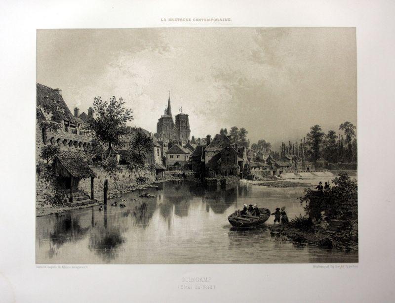 1870 Guingamp vue Cotes-d'Armor Bretagne France estampe Lithographie lithograph