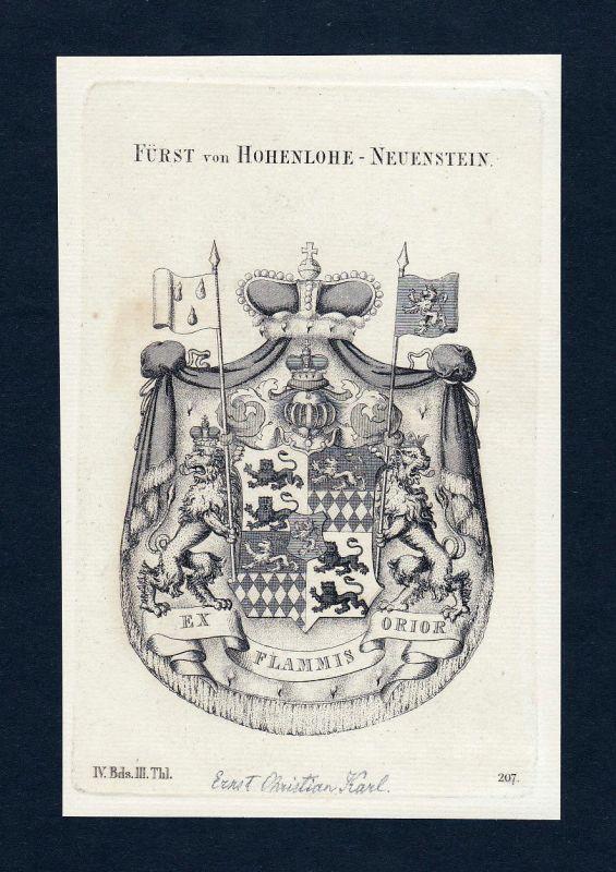 1820 Hohenlohe-Neuenstein Wappen Adel coat of arms Kupferstich engraving
