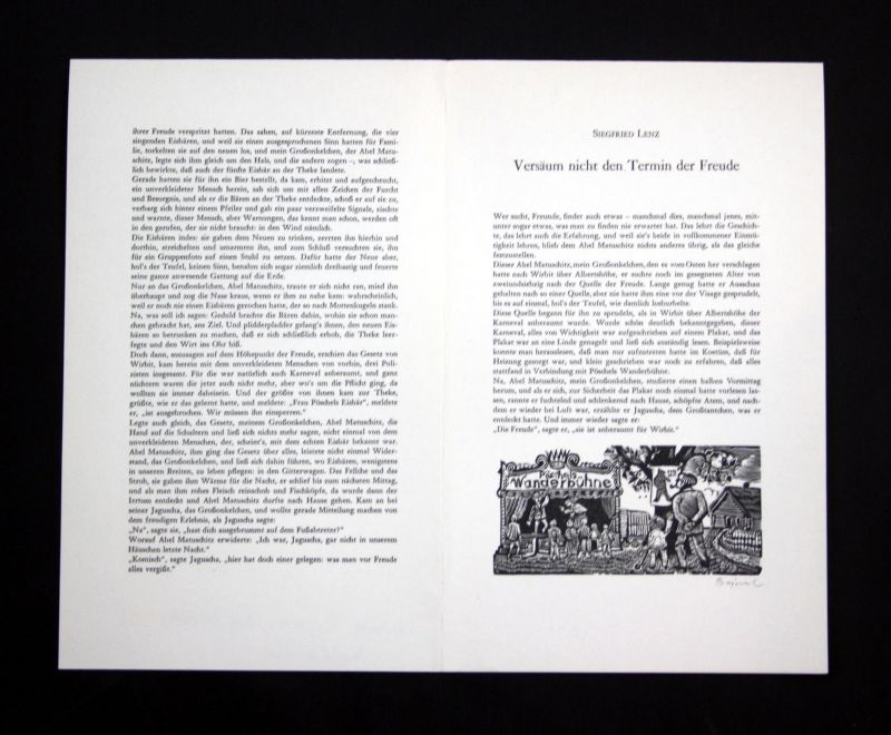 1990 Archibald Bajorat Siegfried Lenz Holzstiche zu einem Gedicht signiert