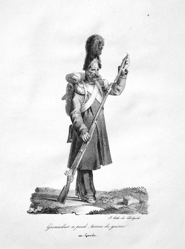 Frankreich France Grenadier Militaria Uniformen uniforms Original Lithographie