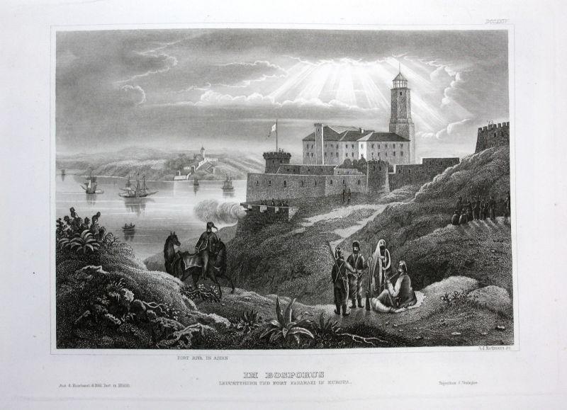 Bosporus Leuchtturm Fort Fanaraki Ansicht Stahlstich antique print view