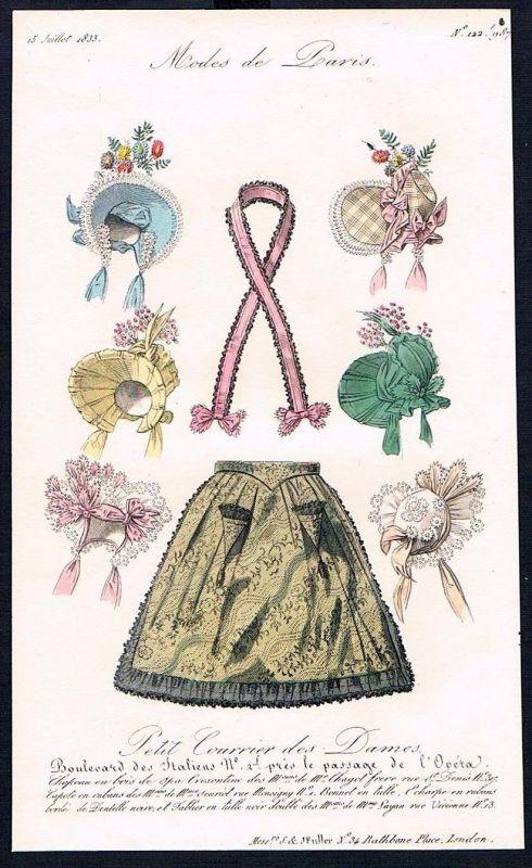 1833  Biedermeier Mode Kupferstich victorian fashion antique print Paris e 61723
