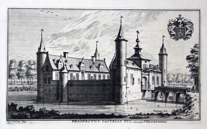 1700 Kasteel van 's-Gravenwezel Belgique vue Kupferstich gravure antique print