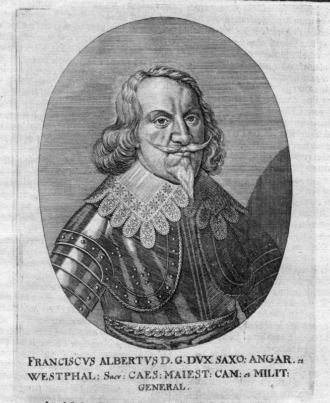 Ca. 1665 Franz Albrecht von Sachsen Portrait Kupferstich antique print