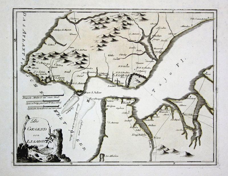 Spanien Spain Portugal Lisboa Lissabon map Karte Reilly engraving Kupferstich