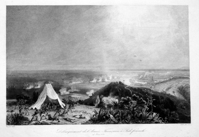 Ca. 1840 Sidi Fredj Algeria battle Ansicht vue estampe Stahlstich antique print