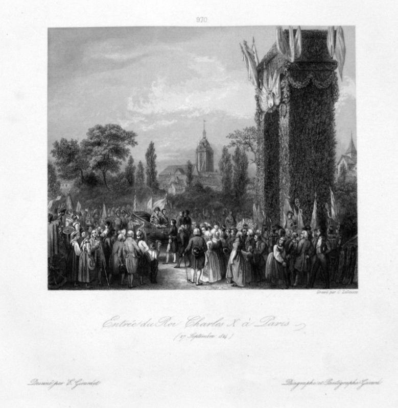 Ca. 1840 Charles X roi Paris Ansicht vue estampe Stahlstich antique print