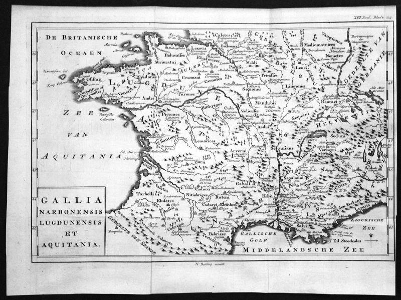 18. Jh. Aquitaine Narbonne France gravure carte map Kupferstich antique print