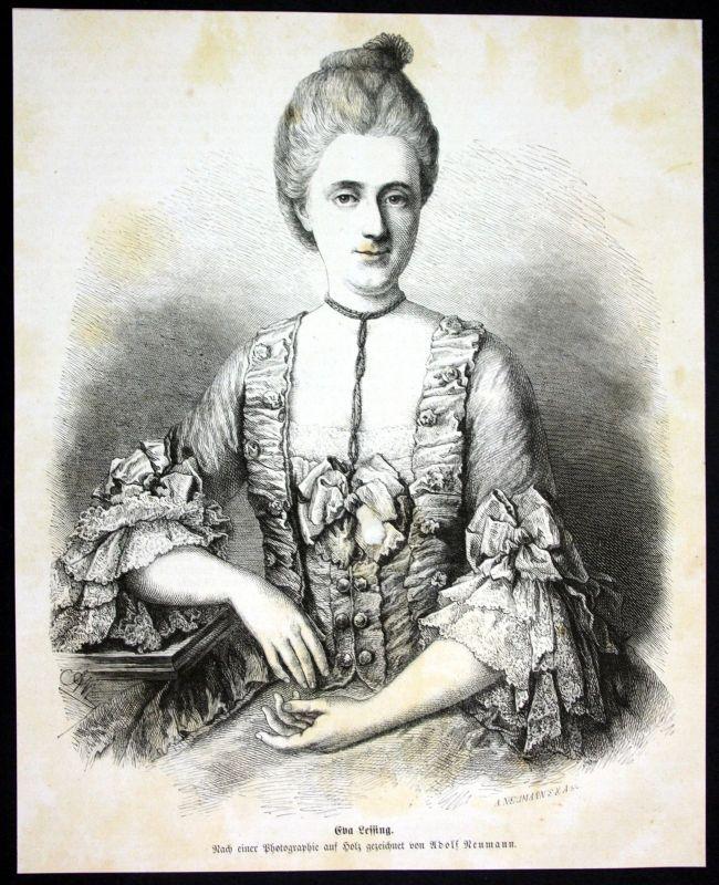 Ca 1880 Eva König Frau Gotthold Ephraim Lessing Portrait Holzstich antique print