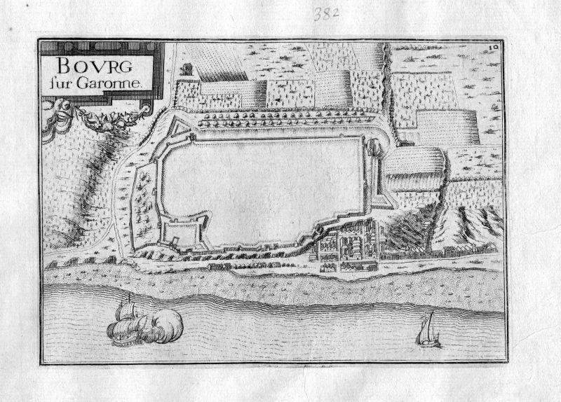 Ca. 1630 Bourg Gironde Frankreich Kupferstich Karte map engraving gravure Tassin