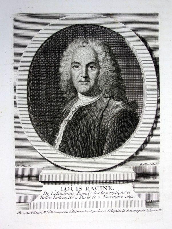 18. Jh. Louis Racine poet poete gravure Kupferstich Portrait engraving Dichter