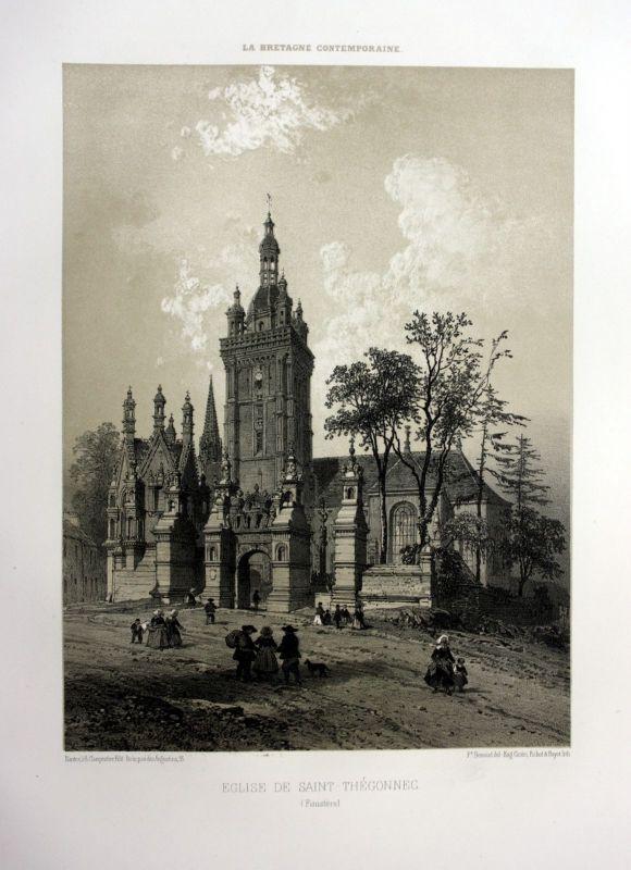 Ca. 1870 Eglise Saint-Thegonnec Bretagne France estampe Lithographie lithograph