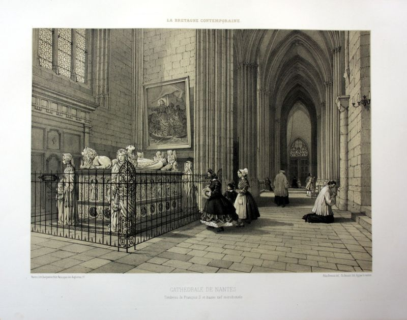 Ca. 1870 Cathedrale de Nantes interieur Bretagne France estampe Lithographie