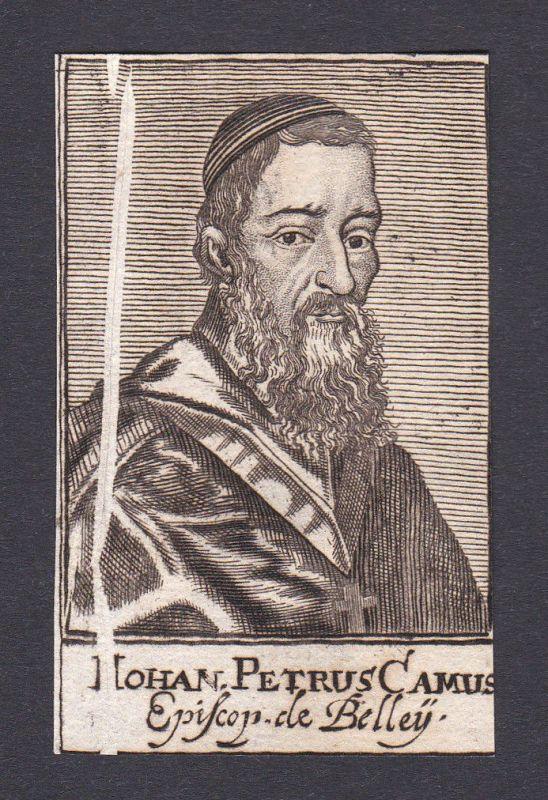 17. Jh. Jean-Pierre Camus / bishop Bischof Paris France Portrait Kupferstich
