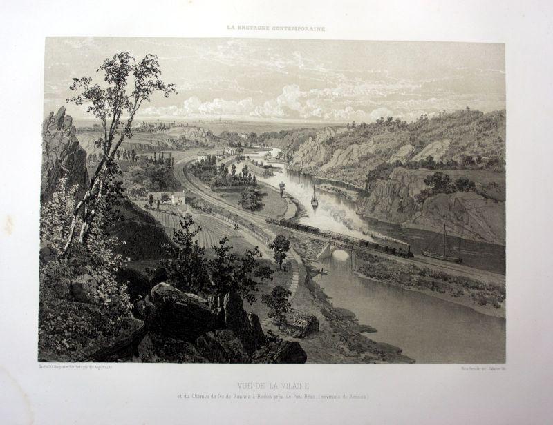 Ca. 1870 Vilaine Redeon chemin de fer vue Bretagne France estampe Lithographie