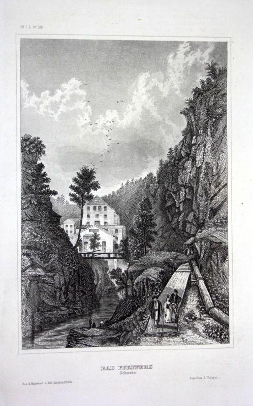 Ca. 1840 Pfäfers Schweiz Ansicht view gravure Stahlstich engraving