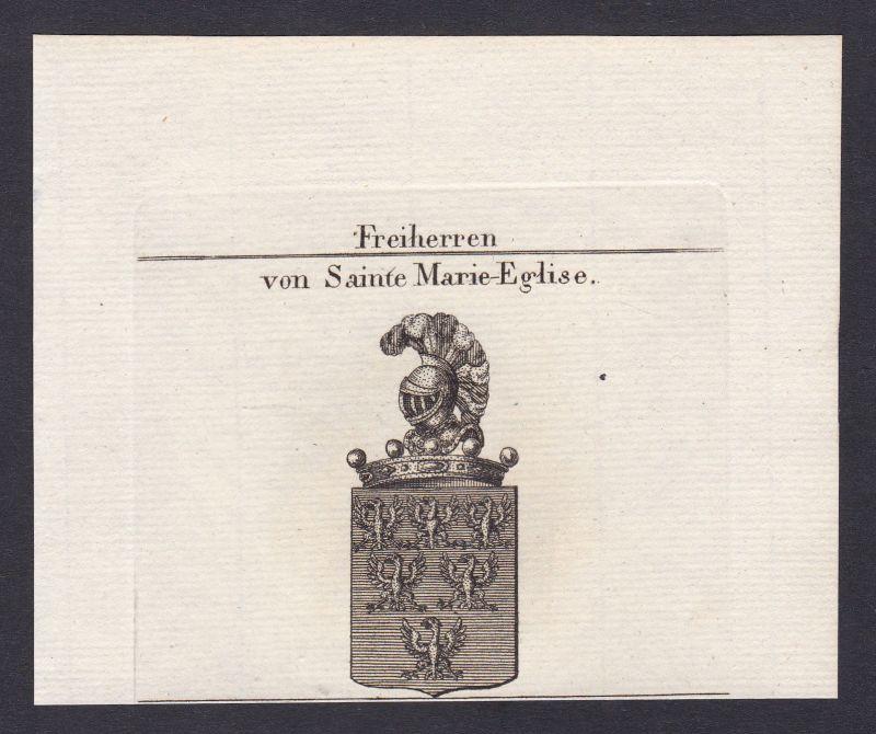 1820 Sainte Marie-Eglise Wappen Adel coat of arms heraldry Heraldik Kupferstich