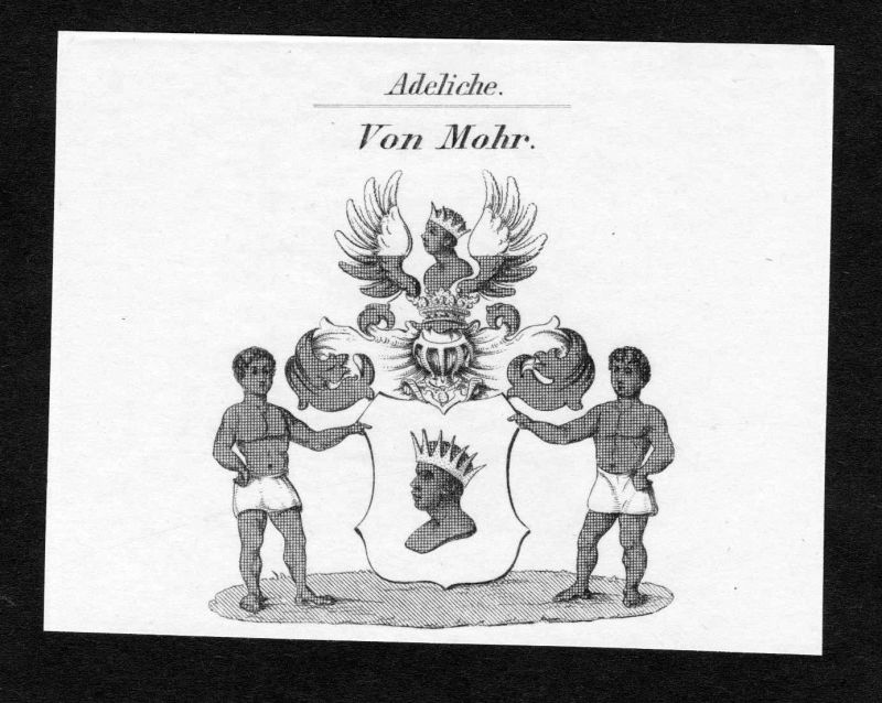 Ca. 1820 Mohr Wappen Adel coat of arms Kupferstich antique print heraldry 136617