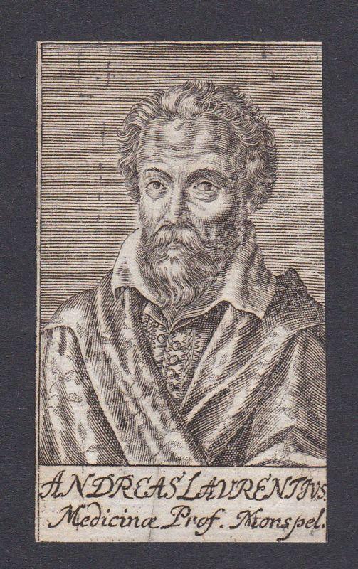 17. Jh. - Andre du Laurens physician Mediziner Montpellier Portrait Kupferstich