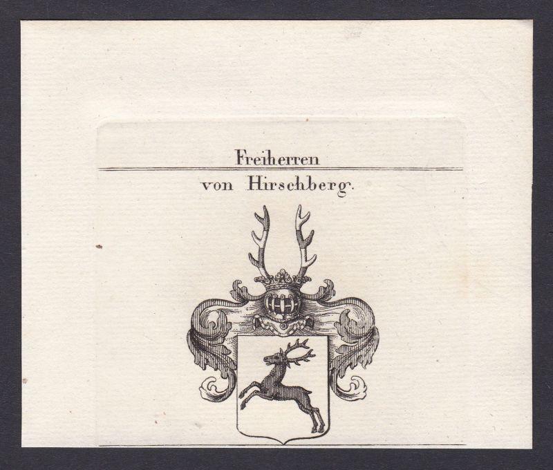 1820 Hirschberg Bayern Wappen Adel coat of arms heraldry Heraldik Kupferstich